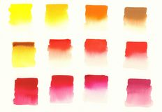 Primary colors warm palette watercolor. Primary colors swatches warm palette watercolor background Royalty Free Stock Photos