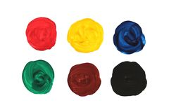 Primary colors. Watercolor hand painted circle shape design elements. Abstract background. photo.  royalty free stock photos