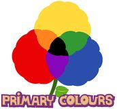 Primary colours. Illustration of isolated letter of primary colours on white Royalty Free Stock Photo