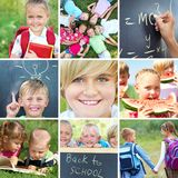 Primary education. Conceptual collage colorful pictures on primary education Royalty Free Stock Images