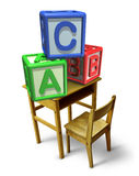 Primary Education. And early childhood learning with a school desk and basic letter blocks with a b and c representing childcare training of reading and writing Stock Photography
