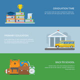 Primary Education Banners. Basic or higher education banner set. Primary school backgrounds for website and internet. Basic education templates with place for Royalty Free Stock Image