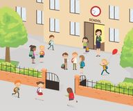 Primary education. Group of elementary school kids in the school. Yard. Cartoon vector illustration Stock Photos