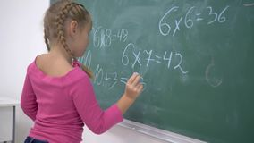 Primary education, schoolgirl with chalk solves examples on mathematics on school green blackboard in class