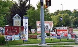 Primary Election Campaign Signs Maryland Stock Photo