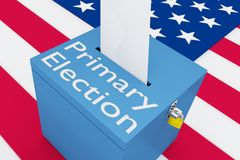 Primary Election concept. 3D illustration of Primary Election script on a ballot box, with US flag as a background Royalty Free Stock Photography