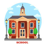 Primary or elementary, secondary school with clock Royalty Free Stock Photography