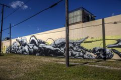 Primary Flight 2012: Roa. Primary Flight 2012. Legal wall painted by Roa royalty free stock photography