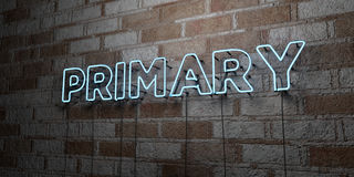 PRIMARY - Glowing Neon Sign on stonework wall - 3D rendered royalty free stock illustration Royalty Free Stock Image