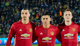 Primary Players Zlatan Ibrahimovic, Marcos Rojo, Phil Jones. In match 1/8 finals of the Europa League between FC `Rostov` and `Manchester United`, 09 March 2017 royalty free stock images