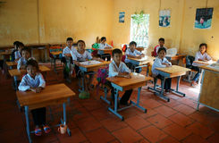 Primary pupil listening with concentration Stock Images