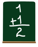 Primary school addition. Adding numbers on a chalboard at a primary or kindergarten level Stock Images