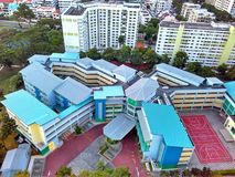 Primary school. Aerial view of a primary school in a neighbourhood in Singapore Stock Image