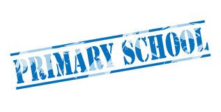 Primary school blue stamp. Isolated on white background Stock Images