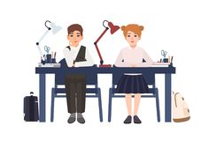Primary school boy and girl in uniform sitting at desk in classroom isolated on white background. Smiling pupils or stock illustration
