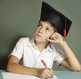 Primary school boy pass final exam Royalty Free Stock Photos