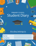 Primary School Diary Cover. Back to school concept. Basic education supplies cover layout. Primary education elements backdrop with place for text. Student Royalty Free Stock Image