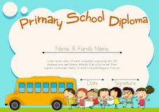 Primary school diploma with schoolbus and kids Stock Images