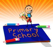 Primary School Displays Lessons And Educate 3d Illustration. Primary School Paper Displays Lessons And Educate 3d Illustration Royalty Free Stock Photography