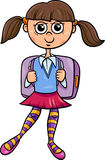 Primary school girl cartoon illustration. Cartoon Illustration of Elementary School Student Girl with Satchel Stock Images