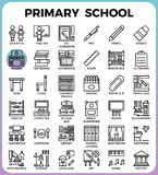 Primary school icon set. Primary school concept detailed line icons set in modern line icon style concept for ui, ux, web, app design Royalty Free Illustration