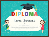 Primary School Kids Diploma certificate design template Royalty Free Stock Images
