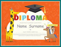 Primary School Kids Diploma certificate design template Royalty Free Stock Photo