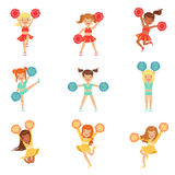 Primary School Little Girls In Cheerleaders Uniform Cheering And Cheerleading With Pompoms Set Of Happy Kids Cartoon Royalty Free Stock Image