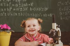 Primary school pupil make scientific research in classroom. New scientific knowledge and technology, vintage filter.  royalty free stock image