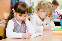 Primary school pupils during the exam Stock Photos
