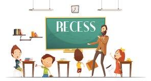 Primary School Recess Break Cartoon Illustration Stock Images