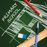 Primary School Shows Lessons And Educate 3d Illustration. Primary School Equipment Shows Lessons And Educate 3d Illustration Stock Photo