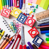 Primary school stationery Stock Photo