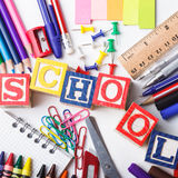 Primary school stationery Royalty Free Stock Image