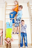 Primary school students in gym Royalty Free Stock Images