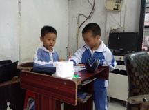 Primary school students in painting Royalty Free Stock Photo