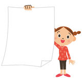 Primary schoolchild, girl, paper. Child has the paper of the blank paper Royalty Free Stock Photography