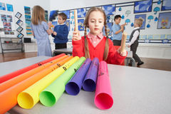 Primary Schoolchildren Having Music Lesson Stock Photography