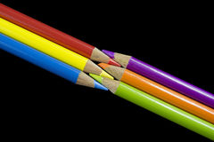 6 Primary and Secondary Coloured Pencils Stock Photo