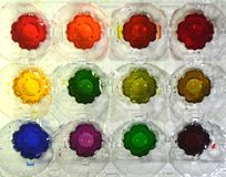 Primary ,Secondary, and Tertial colors. The subtractive color system: From left the 3 primary colors red, yellow, blue, then their derivated secondary colors stock photos