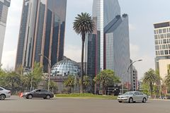 The primary stock exchange of Mexico resides on El Paseo de la Reforma in Mexico City. Several buildings create the hub of the Mexican stock exchange on El Royalty Free Stock Image