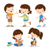 Primary student boy and girl. Primary school students character.Back to school. Set of school kids in education concept Stock Image