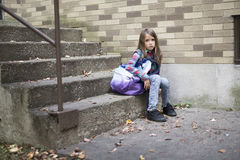 Primary student depress at the school Royalty Free Stock Photography