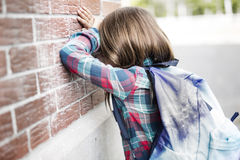 Primary student depress at the school Stock Photography