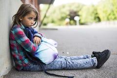 Primary student depress at the school Stock Photo