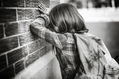 Primary student depress at the school Royalty Free Stock Image