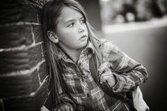 Primary student depress at the school Royalty Free Stock Images