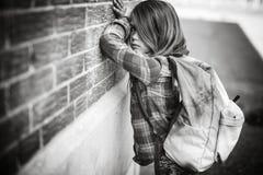 Primary student depress at the school Stock Photos