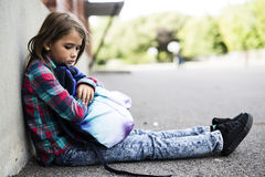 Primary student depress at the school Royalty Free Stock Photo