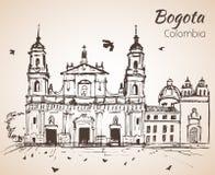 Primatial domkyrka av Bogota skissa stock illustrationer